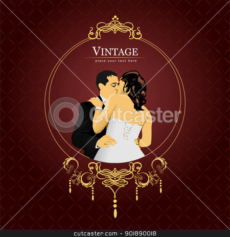 Invitation vintage card. Wedding or Valentine`s Day. Vector illu stock vector clipart, Invitation vintage card. Wedding or Valentine`s Day. Vector illustration by Leonid Dorfman