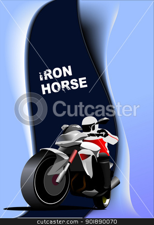 Abstract  background with motorcycle image. Iron horse. Vector i stock vector clipart, Abstract  background with motorcycle image. Iron horse. Vector illustration by Leonid Dorfman