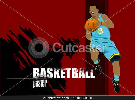 Basketball players poster. Colored Vector illustration for desig stock vector clipart, Basketball players poster. Colored Vector illustration for designers by Leonid Dorfman