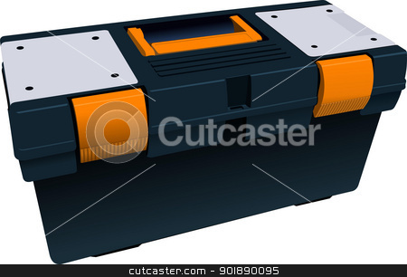 Plastic box full for tools. Vector illustration stock vector clipart, Plastic box full for tools. Vector illustration by Leonid Dorfman