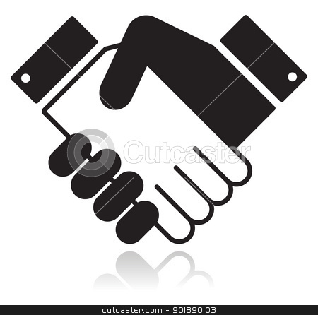 Handshake glossy black icon stock vector clipart, Clean shiny icon with shaking hands. Business agreement, meeting, job offer, signing contract, deal concept by Agnieszka Bernacka
