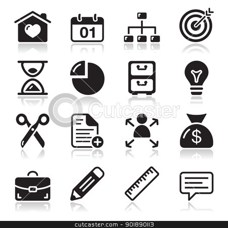 Website internet black icons set stock vector clipart, Modern application website icons set with shadow  by Agnieszka Bernacka