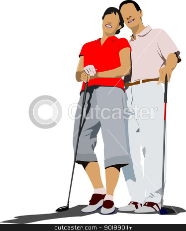 Couple golfers in iron club. Vector illustration stock vector clipart, Couple golfers in iron club. Vector illustration by Leonid Dorfman