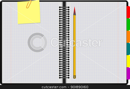 Black Notebook open on white background with clipped yellow none stock vector clipart, Black Notebook open on white background with clipped yellow none and yellow pencil. Vector illustration by Leonid Dorfman