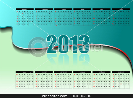 Calendar 2013 with American holidays. Months. Vector illustratio stock vector clipart, Calendar 2013 with American holidays. Months. Vector illustration by Leonid Dorfman