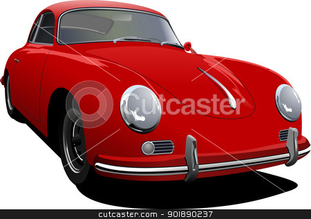 Red car sedan on the road. Vector illustration stock vector clipart, Red car sedan on the road. Vector illustration by Leonid Dorfman