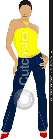 Young girl in yellow shirt. Colored Vector illustration stock vector clipart, Young girl in yellow shirt. Colored Vector illustration by Leonid Dorfman