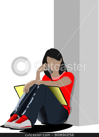 Schoolgirl sitting and reading. Back to school. Vector illustrat stock vector clipart, Schoolgirl sitting and reading. Back to school. Vector illustration by Leonid Dorfman