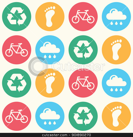 Eco green seamless background pattern stock vector clipart, Seamless wallpaper with ecology, recycling icons by Agnieszka Bernacka