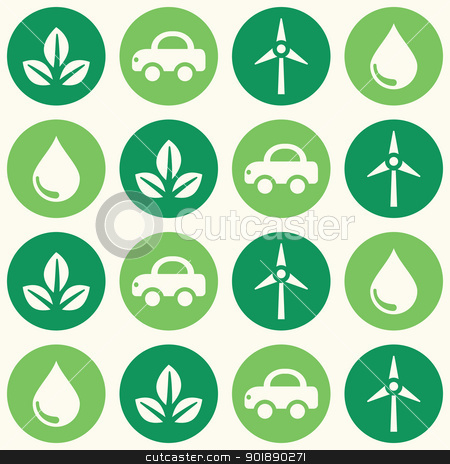 Retro eco green seamless background pattern stock vector clipart, Seamless wallpaper with ecology, recycling icons - vintage style  by Agnieszka Bernacka