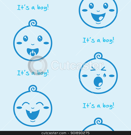 It's a boy blue seamless background with baby boys stock vector clipart, Cute baby boy pattern, wallpaper by Agnieszka Bernacka
