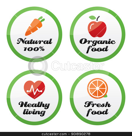 Organic food, fresh and natural products icons on green buttons stock vector clipart, Healhy living and eating buttons set by Agnieszka Murphy