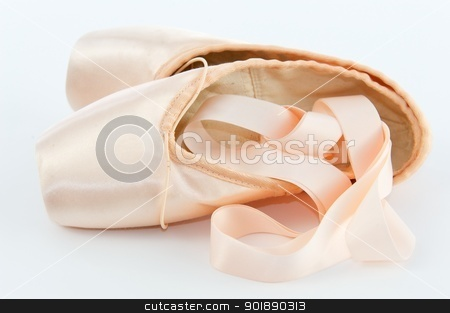 Ballet Point Shoes or Slippers stock photo, A pair light or pale pink ballet point shoes or slippers isolated on a white background with a lot of copyspace by Shane Morris