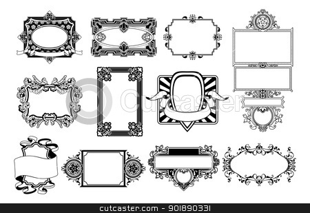 Ornate frame and border design elements stock vector clipart, A set of ornate frame and border design elements by Christos Georghiou