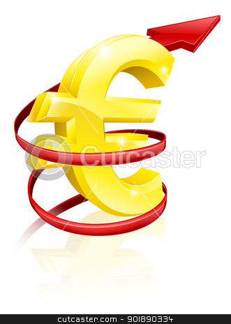 Rising Euro or profits stock vector clipart, Conceptual finance or economy concept of rising price of the Euro exchange rate or just rising profits by Christos Georghiou
