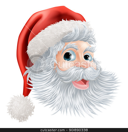 Happy Christmas Santa face stock vector clipart, Illustration of a happy cartoon Christmas Santa face by Christos Georghiou