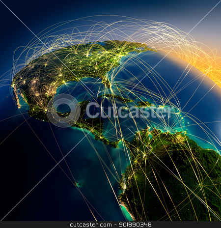 Main air routes in Central America stock photo, Highly detailed planet Earth at night with embossed continents, illuminated by light of cities, translucent and reflective ocean. Earth is surrounded by a luminous network, representing the major air routes based on real data by Antartis