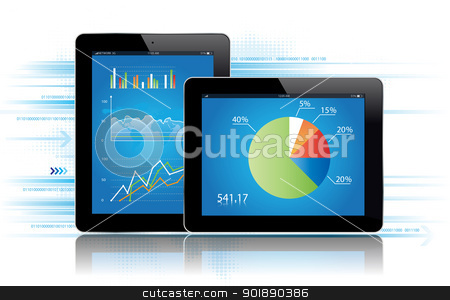 Tablet Statistics stock vector clipart, Tablet with statistcs chart.Vector illustration by Bagiuiani Kostas