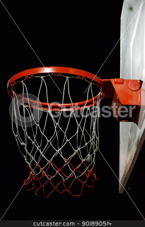 Basketball hoop stock photo, Basketball hoop with night sky background by Patipat Rintharasri