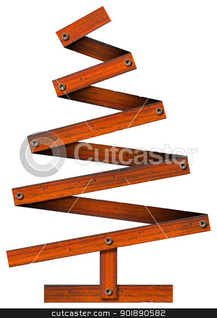 Wooden and Stylized Christmas Tree stock photo, Wooden Christmas tree with screws isolated on white background  by catalby