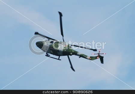 Westland Lynx AH.7 helicopter stock photo, A Westland Lynx AH.7 multi purpose helicopter of the Army Air Corps performs at the Airbourne airshow at Eastbourne in East Sussex, England on August 11, 2012. The Lynx entered operational service in 1977. by newsfocus1