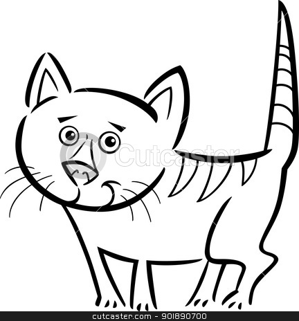 cat or kitten for coloring book stock vector clipart, Cartoon Illustration of Cute Tabby Cat or Kitten for Coloring Book by Igor Zakowski