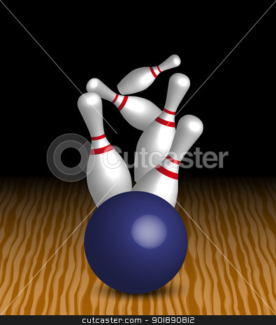 Bowling stock vector clipart, Bowling - Four Pins and Blue Ball On Wooden Alley by JAMDesign