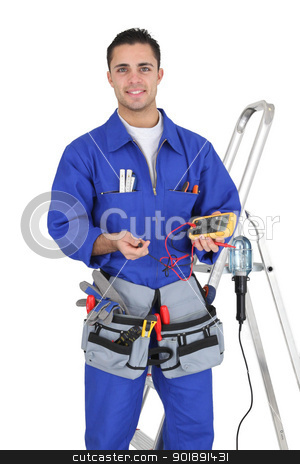 Handyman holding a multimeter stock photo, Handyman holding a multimeter by photography33