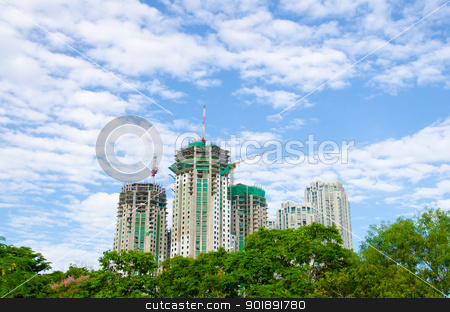 Construction of buildings stock photo, Construction of buildings in the capital, Bangkok, Thailand. by chatchai