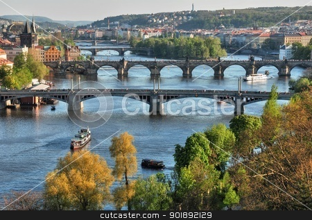 Prague's bridges stock photo, View of the skyline of Prague's bridges by Ondrej Vladyka