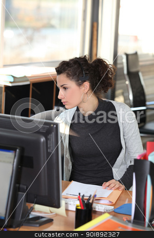 Woman listening to angry customer on phone stock photo, Woman listening to angry customer on phone by photography33