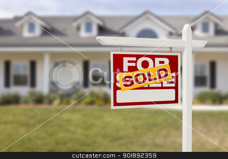 Red Sold For Sale Real Estate Sign and House stock photo, Red Sold For Sale Real Estate Sign in Front of House. by Andy Dean