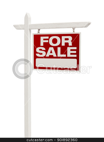 Red For Sale Real Estate Sign on White with Clipping Path stock photo, Red For Sale Real Estate Sign on White with Clipping Path Isolated on a White Background. by Andy Dean