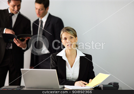 Businesswoman at her desk stock photo, Businesswoman at her desk by photography33