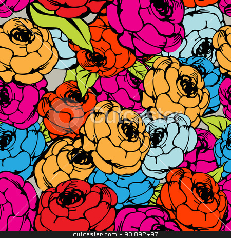 Rose repeating pattern stock vector clipart, Rose seamless pattern in colors by Richard Laschon