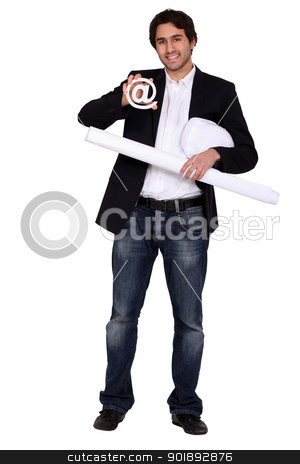 Architect with an @ sign stock photo, Architect with an @ sign by photography33