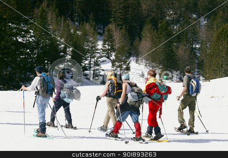 Group of skiers stock photo, Group of skiers by photography33