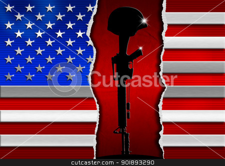 USA 11 September 2001 stock photo, Usa metal flag in memory of the war dead  by catalby
