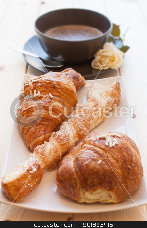Cappuccino and Brioches stock photo, Assorted sweet brioches on dish and cappuccino for morning breakfast by Giordano Aita