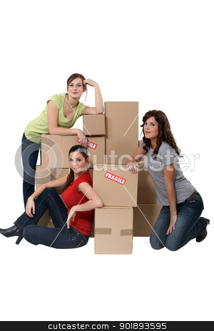 Three women moving house stock photo, Three women moving house by photography33