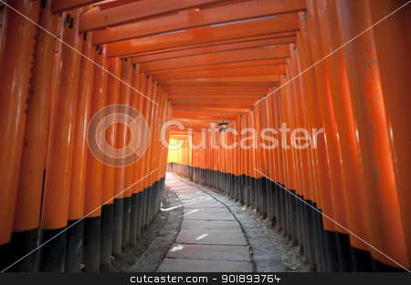 Red Torii Gates Japan stock photo, a tunnel of torii gates at the Fushimi Inari-taisha shrine, Osaka, Japan by Stephen Gibson