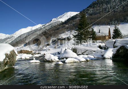 Pond at the top of snow covered mountain stock photo, Pond at the top of snow covered mountain by photography33
