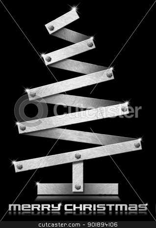 Metallic and Stylized Christmas Tree stock photo, Metal Christmas tree with bolts heads on black background  by catalby