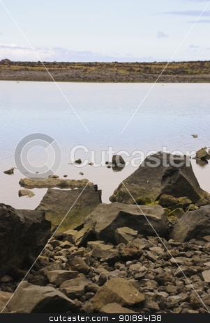 Lagoon stock photo, Water lagoon in Faja, Sao Jorge island, Azores by dinozzaver