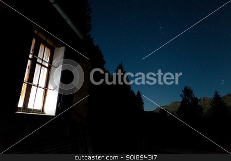 Chalet starry night stock photo, A starry night at the chalet with stars above and the pleiades by Dario Rota