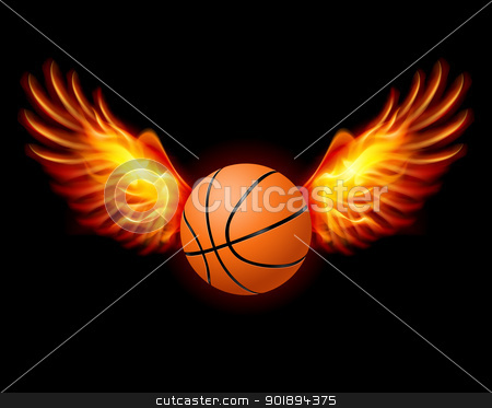 Basketball-Fiery wings stock photo, Basketball-Fiery wings, a color illustration on a black background by dvarg