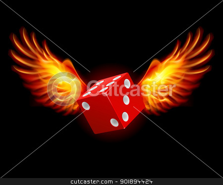 Dice-Fiery wings stock photo, Dice-Fiery wings, a color illustration on a black background by dvarg