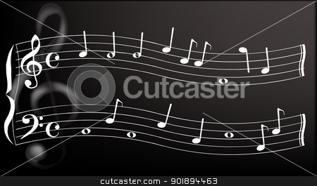 Metallic Clef stock vector clipart, A metallic treble clef in the background with a wavy stave with random notes in the foreground. by Kotto
