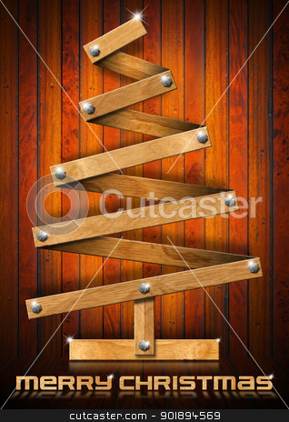 Wooden and Stylized Christmas Tree stock photo, Wooden Christmas tree with bolts heads on wood background   by catalby