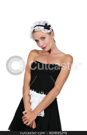 Model dressed in maid outfit stock photo, Model dressed in maid outfit by photography33